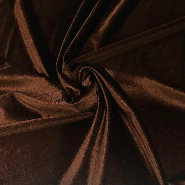 Brown Stretch Velvet Fabric