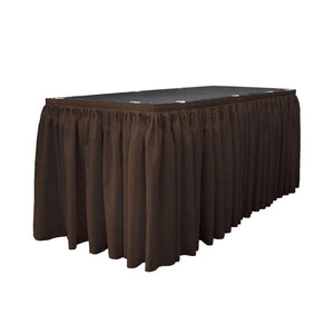 14 Ft. x 29 in. Brown Accordion Pleat Polyester Table Skirt