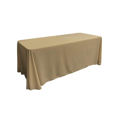 Taupe 100% Polyester Rectangular Tablecloth 90