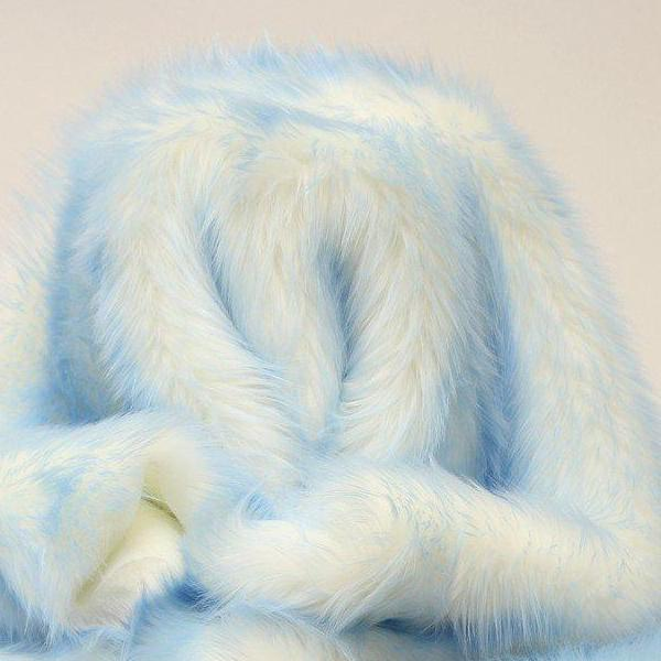 Baby Blue Faux Fur Candy Shaggy Fabric Long Pile