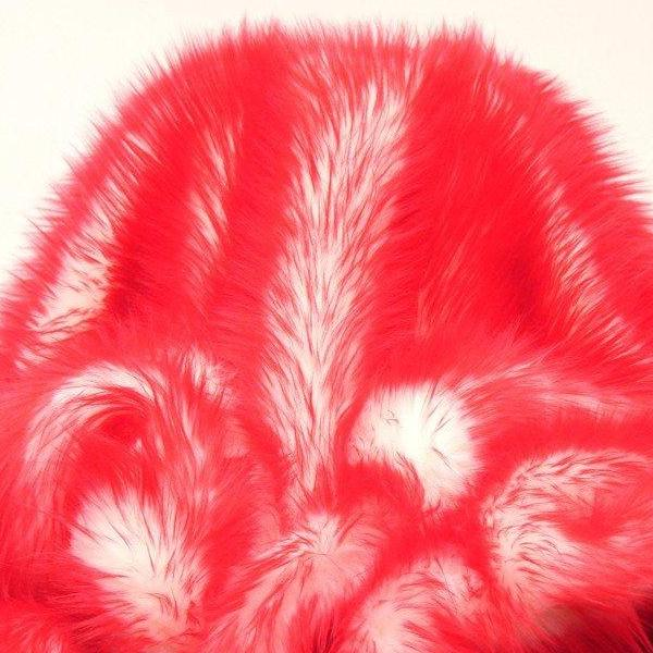 Fire Red Faux Fur Candy Shaggy Fabric Long Pile