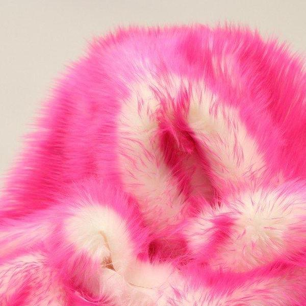 Hot Pink Faux Fur Candy Shaggy Fabric Long Pile