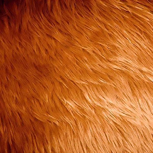 Caramel Faux Fake Fur Long Pile Shaggy Fabric