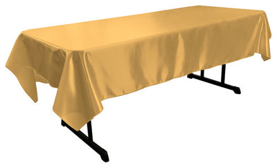 Gold Bridal Satin Rectangular Tablecloth 60 x 108