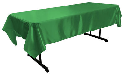 Kelly Green Bridal Satin Rectangular Tablecloth 60 x 108