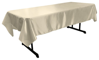 Ivory Bridal Satin Rectangular Tablecloth 60 x 108