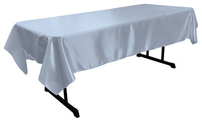 Light Blue Bridal Satin Rectangular Tablecloth 60 x 108