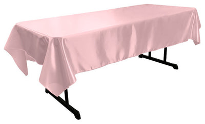 Light Pink Bridal Satin Rectangular Tablecloth 60 x 108