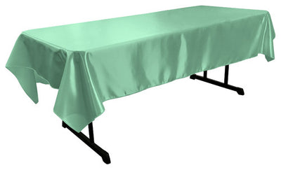 Mint Bridal Satin Rectangular Tablecloth 60 x 108