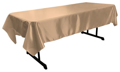 Taupe Bridal Satin Rectangular Tablecloth 60 x 108