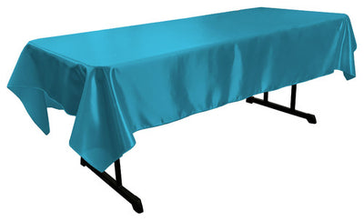 Turquoise Bridal Satin Rectangular Tablecloth 60 x 108