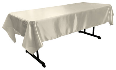 White Bridal Satin Rectangular Tablecloth 60 x 108