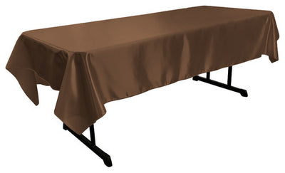 Brown Bridal Satin Rectangular Tablecloth 60 x 108
