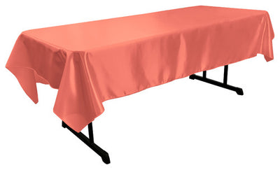 Coral Bridal Satin Rectangular Tablecloth 60 x 108