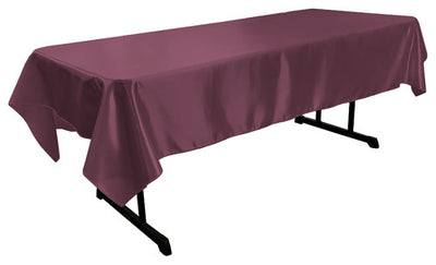 Eggplant Bridal Satin Rectangular Tablecloth 60 x 108