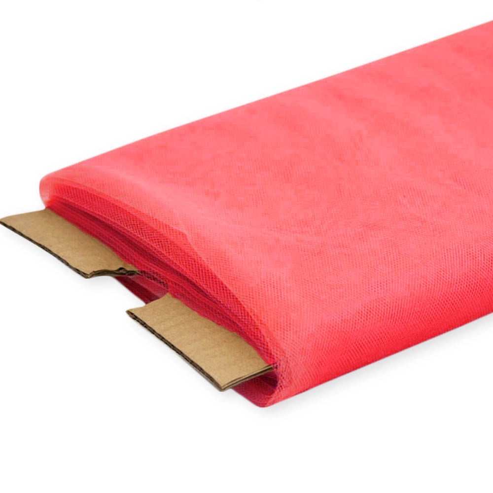 "Coral Nylon Tulle Fabric, 54"" Inches Wide - 40 Yards By Roll"