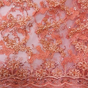 CORAL PINK Emperor's Lace Fabric
