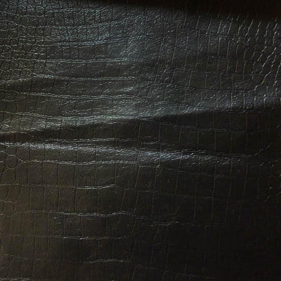 Black Crocodile 100% PU Soft Skin Faux Leather Vinyl Fabric / 40 Yards Roll