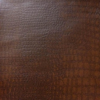 Brown Crocodile 100% PU Soft Skin Faux Leather Vinyl Fabric / 40 Yards Roll