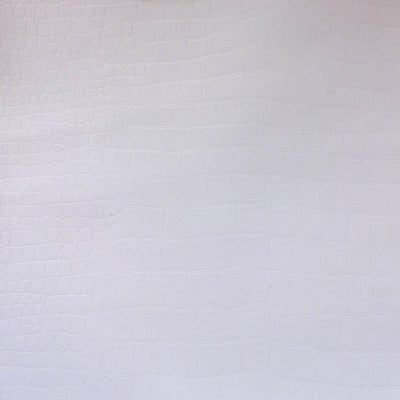 White Crocodile 100% PU Soft Skin Faux Leather Vinyl Fabric / 40 Yards Roll