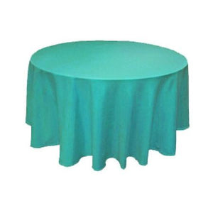 Turqouise 100% Polyester Round Tablecloth 108""