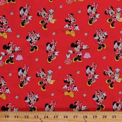 Disney Minnie Mouse Loves Dresses 100% Cotton Fabric