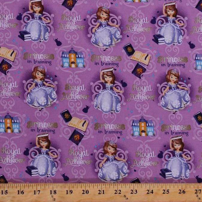 Disney Sofia the First Princess in Training Books 100% Cotton Fabric