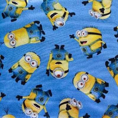 Despicable Me Blue Tossed Minions 100% Cotton Print Fabric