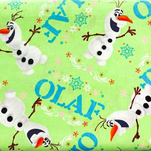 Disney Frozen Olaf Cheerful Green Toss 100% Cotton Print Fabric
