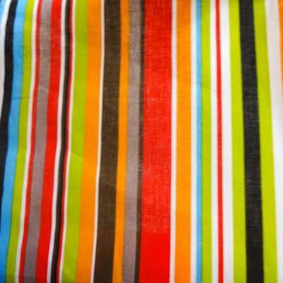 Earth Colored Stripe Poly Cotton Fabric