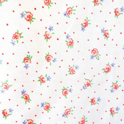Florals and Dots Red Poly Cotton Fabric