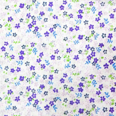 Purple Mini Flower  Poly Cotton Fabric