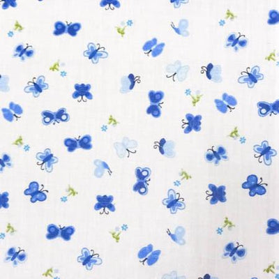 Blue Mini Butterfly Poly Cotton Fabric