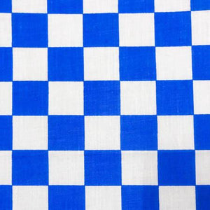 Blue Racing Checkered Poly Cotton Fabric