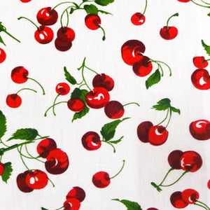 Cherry Fruit White Poly Cotton Fabric