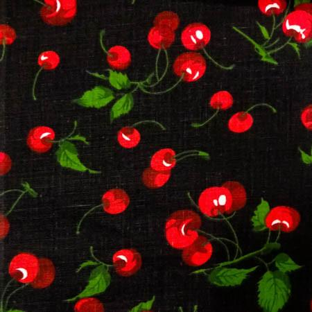 Cherry Fruit Black Poly Cotton Fabric