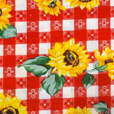 Sunflowers on Red Checkered Poly Cotton Fabric