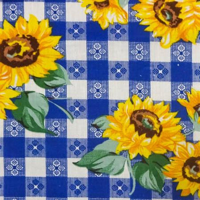 Sunflowers on Blue Checkered Poly Cotton Fabric