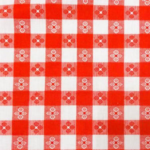 Red Racing Checkered Poly Cotton Fabric