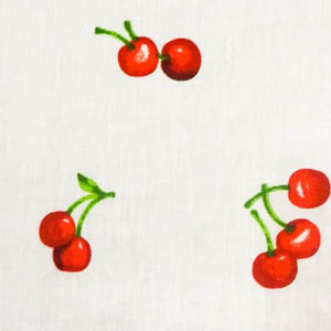 Cherry Toss White Poly Cotton Fabric
