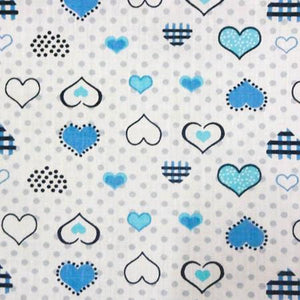 Hearts on Dots Blue Poly Cotton Fabric