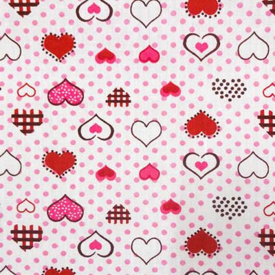 Hearts on Dots Red Poly Cotton Fabric