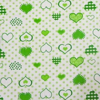 Hearts on Dots Green Poly Cotton Fabric