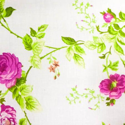 Magenta Floral Rose Poly Cotton Fabric