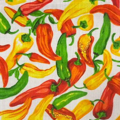 Pepper Vegetable White Poly Cotton Fabric