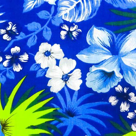 Hawaiian Floral Blue Poly Cotton Fabric