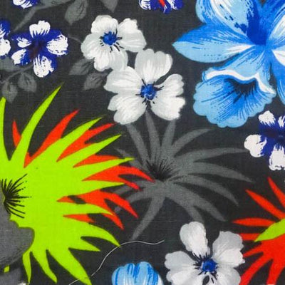 Hawaiian Floral Gray Poly Cotton Fabric