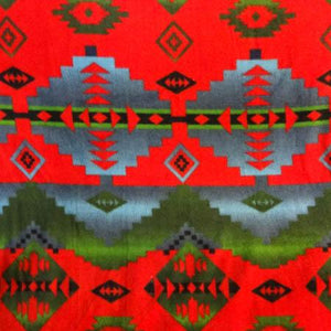 Navajo Indian Native American Deep Red and Olive Indian Print Anti Pill Fleece Fabric