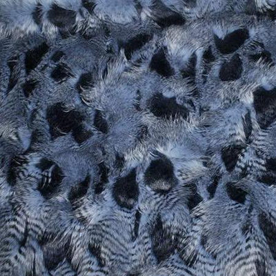 Blue Faux Feathered Fur Fabric