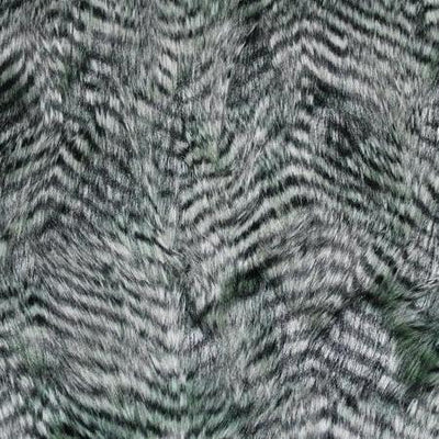 Olive Gray Faux Feathered Fur Fabric